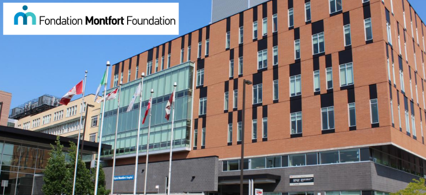 outside of Monfort Hospital with Montfort Foundation logo overlay