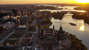 overhead view of Ottawa Parliament building